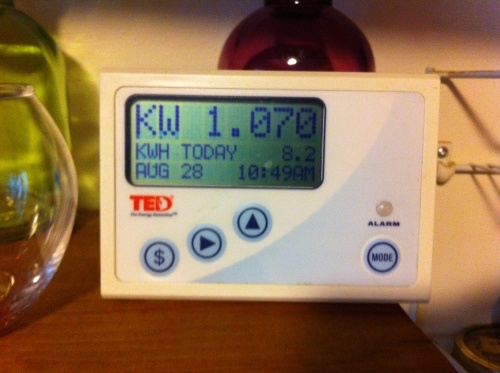 This whole-home energy monitor has a countertop display that shows the home's power consumption at the moment.  It also shows how much electricity has been used over the course of the day.  Cost information and a little orange light that glows when we've exceeded our target are pretty useless.