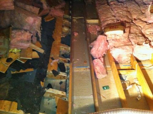Old roof in attic of addition